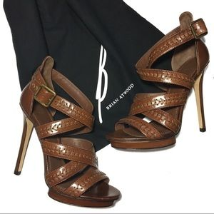 Brian Atwood Cordoba Leather Pumps Brown Size 8